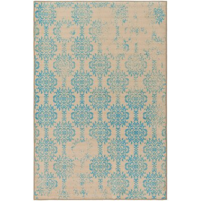 Cassie Beige/Blue Area Rug Rug Size: Rectangle 5 x 8