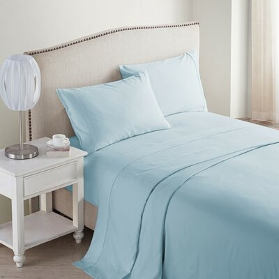 Jessy 400 Thread Count 4 Piece Sheet Set Color: Blue, Size: Queen