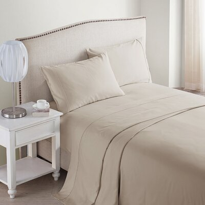 Jessy 400 Thread Count 4 Piece Sheet Set Size: King, Color: Taupe