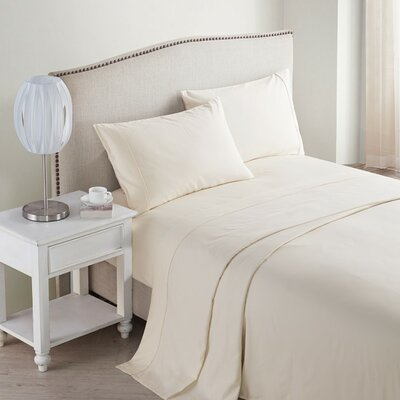 Jessy 400 Thread Count 4 Piece Sheet Set Size: King, Color: Beige