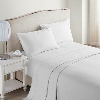 Jessy 400 Thread Count 4 Piece Sheet Set Color: White, Size: Queen