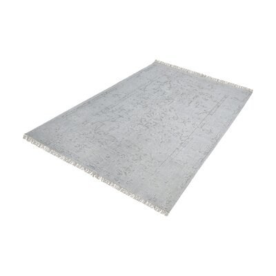 Florus Hand-Knotted Gray/Silver Area Rug Rug Size: Rectangle 9 x 12