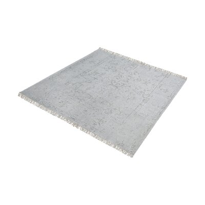 Florus Hand-Knotted Gray/Silver Area Rug Rug Size: Square 6