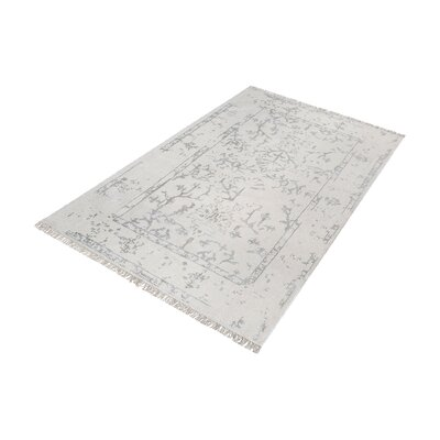 Florus Hand-Knotted Antique Ivory/Silver Area Rug Rug Size: Rectangle 9 x 12