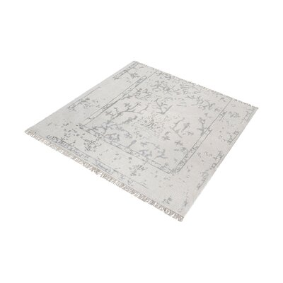 Florus Hand-Knotted Antique Ivory/Silver Area Rug Rug Size: Square 6