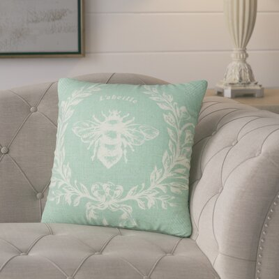 Clematite Linen Bee Throw Pillow Color: Aqua