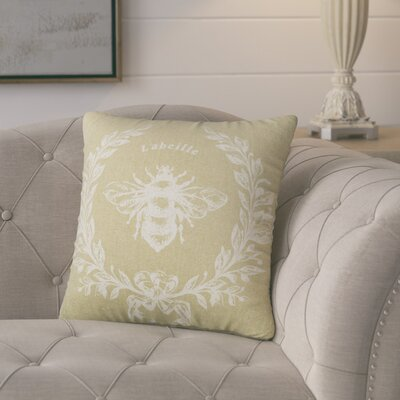 Clematite Linen Bee Throw Pillow Color: Tan