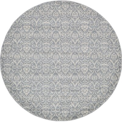 Alcera Gray Area Rug Rug Size: Round 8