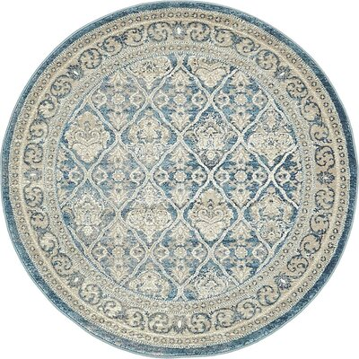 Claire Light Blue Area Rug Rug Size: Round 4
