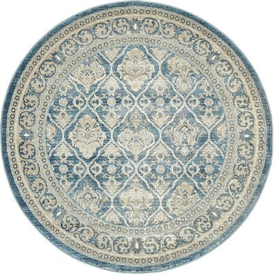 Claire Light Blue Area Rug Rug Size: Round 5