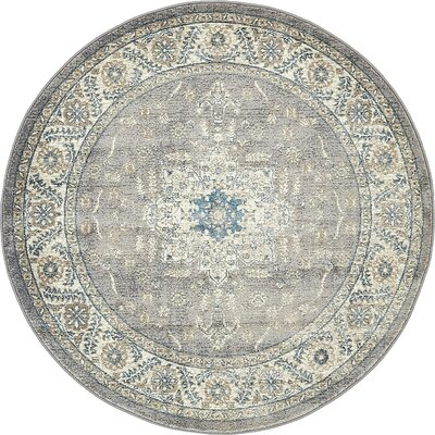 Claire Gray Area Rug Rug Size: Round 5