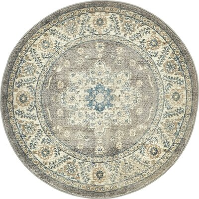 Claire Gray Area Rug Rug Size: Round 4