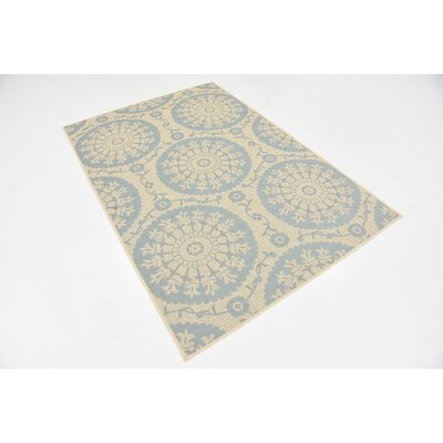 Lillie Beige Outdoor Area Rug Rug Size: 4 x 6