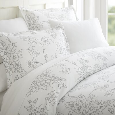 Morissette 3 Piece Duvet Cover Set Color: Gray, Size: Twin