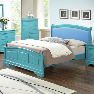Corbeil Upholstered Panel Bed Size: Queen, Color: Teal
