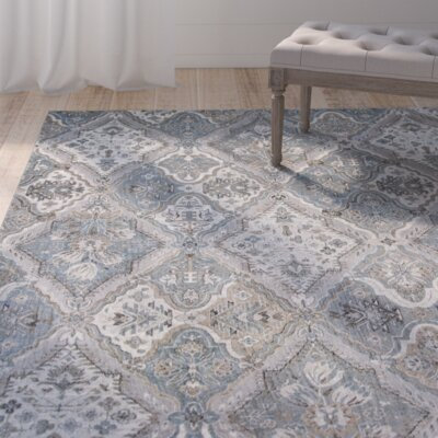 Benoit Silver/Blue Area Rug Rug Size: 33 x 47