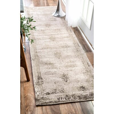 Chartres Hand-Woven Ivory Area Rug Rug Size: Runner 26 x 8