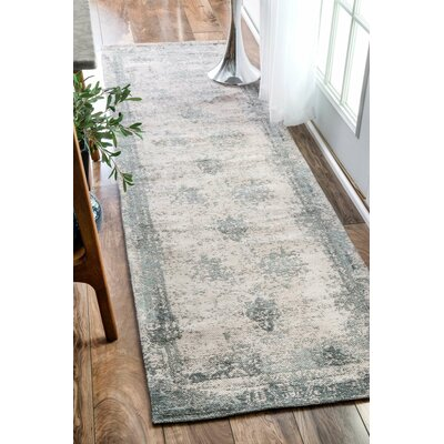 Chartres Hand-Woven Blue Area Rug Rug Size: Runner 26 x 12
