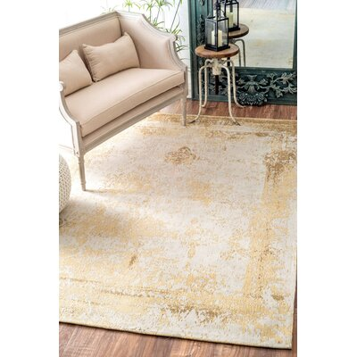Chartres Hand-Woven Cream Area Rug Rug Size: Rectangle 6 x 9