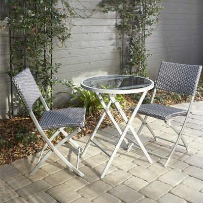 Slusser 3 Piece Metal Bistro Set Finish: Gray
