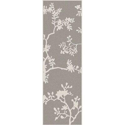 Haller Gray Floral Area Rug Rug Size: Runner 26 x 8