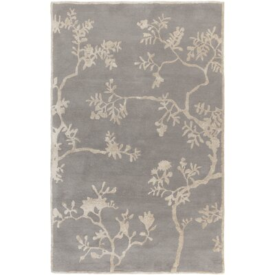 Haller Gray Floral Area Rug Rug Size: Rectangle 33 x 53