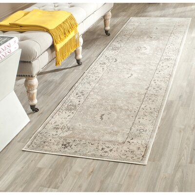 Talmont Light Gray/Ivory Area Rug Rug Size: Runner 22 x 12
