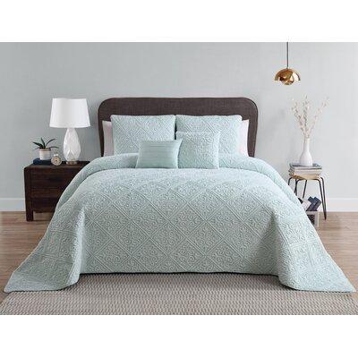 Keira 5 Piece Bed in a Bag Set Color: Blue, Size: King