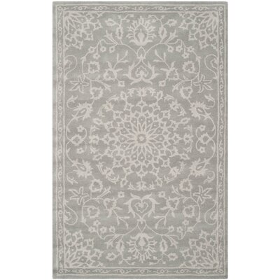 Andie Gray & Silver Floral Wool Hand-Tufted Area Rug
