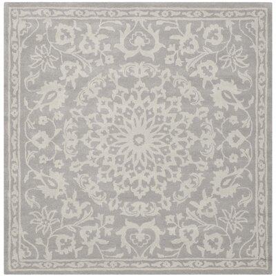 Leonard Grey/Silver Area Rug Rug Size: Square 6