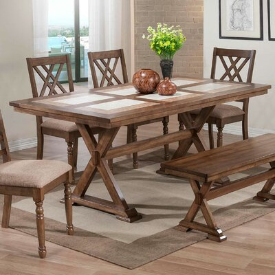 Lia Dining Table Color: Medium Brown