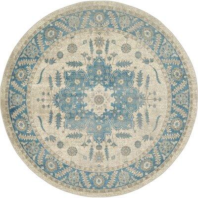 Adam Cream/Blue Area Rug Rug Size: Round 73
