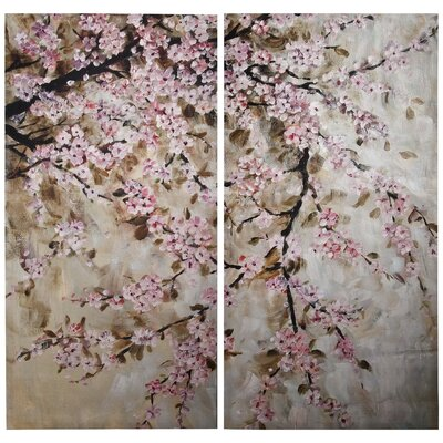 2 Piece Cherry Blossom Painting Print Plaque Set