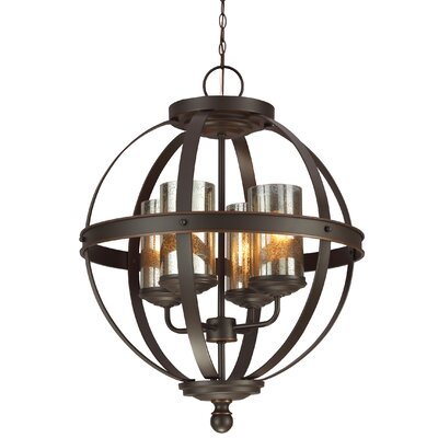 Doris 4-Light Candle-Style Chandelier Shade Color: Mercury