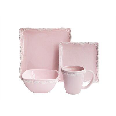 Amandine Leaf Wave 16 Piece Dinnerware Set