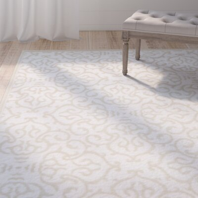 Mathieu Snow White/Beige Area Rug Rug Size: Rectangle 5 x 8