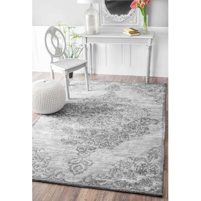 Melyne Floral Medallion Gray Area Rug Rug Size: Rectangle 86 x 116