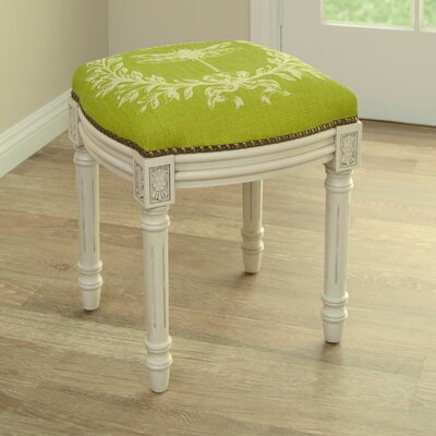 Clematite Dragonfly Linen Upholstered Vanity Stool Color: Chartreuse Green, Finish: Antique White