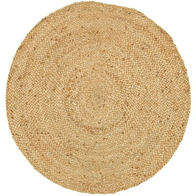 Lesperance Hand-Woven Natural Brown Area Rug Rug Size: Round 3
