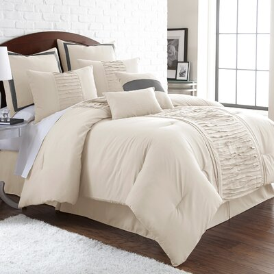 Guillotte 8 Piece Comforter Set Size: King, Color: Off-White