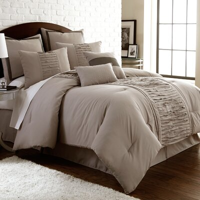 Guillotte 8 Piece Comforter Set Size: Queen, Color: Grey