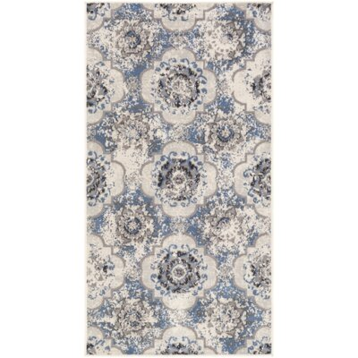 Clotilde Blue/Gray Area Rug Rug Size: Runner 28 x 5