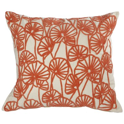 Chaumont Embroidered Cotton Throw Pillow Color: Coral