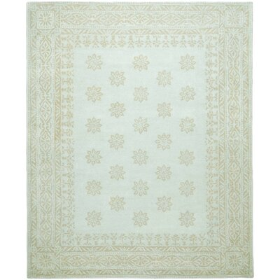 Garden Hand-Loomed Green/Beige Area Rug Rug Size: Rectangle 4' x 6'