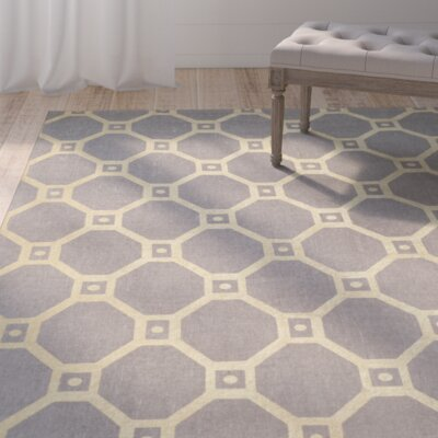 Dresden Hand-Loomed Grey/Gold Area Rug Rug Size: Round 6