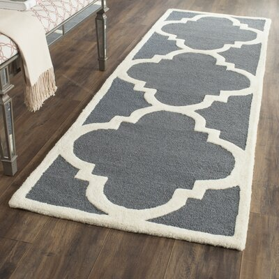 Blakemore Hand-Tufted Dark Grey/Ivory Area Rug Rug Size: Runner 26 x 12