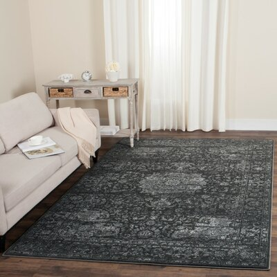 Akron Creek Dark Gray/Cream Area Rug Rug Size: Rectangle 4 x 6