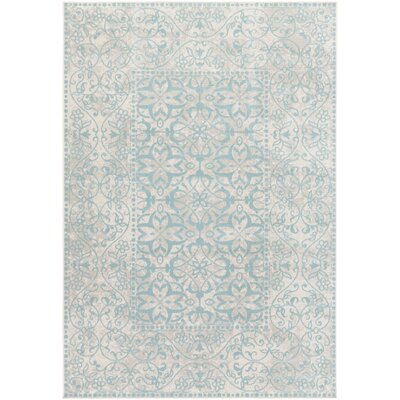Velay Teal Blue/Beige Area Rug Rug size: 22 x 4