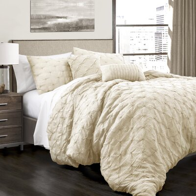 Opperman 5 Piece Comforter Set Size: King, Color: Ivory