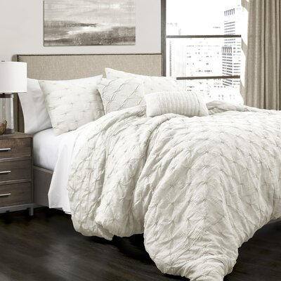 Opperman 5 Piece Comforter Set Size: Full/Queen, Color: White